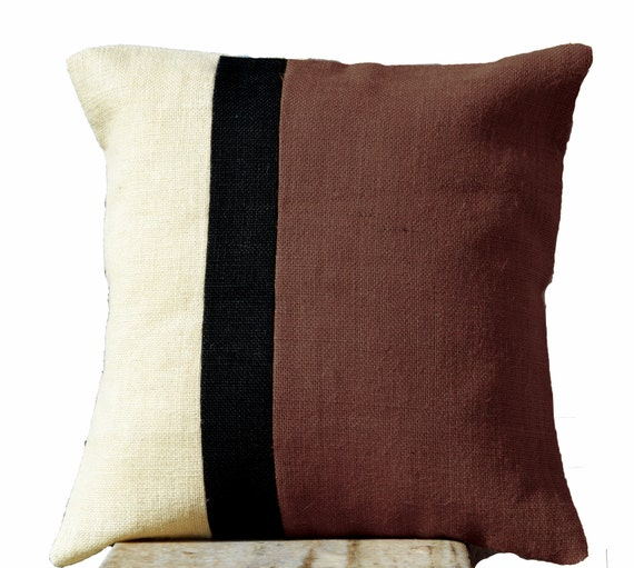Items similar to Burlap Taupe Pillow Case -Burlap Pillow Color Block -Taupe Decorative Cushion ...