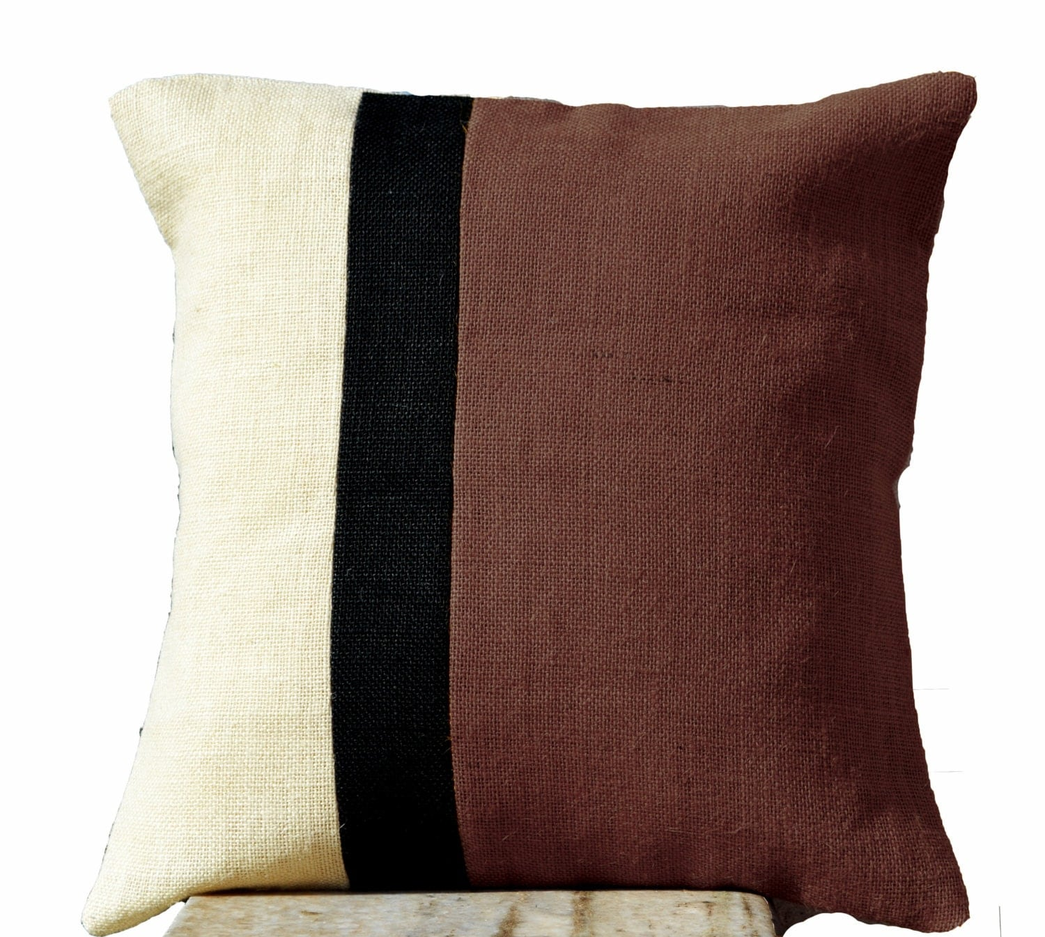 Throw Pillows Taupe : Burlap Taupe Pillow Burlap Pillow color block Taupe