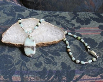 Amazonite & Blackstone Necklace