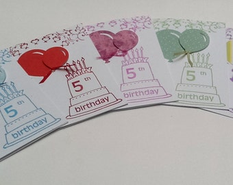 Hand stamped Happy 5th Birthday Party Invitations (Set of 10)