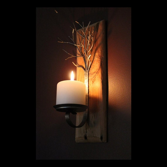 Metal Tree Sculpture Candle Wall Sconce On Antique Wood Base