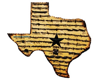 Texas State Plaque with Antique Barbed Wire  - Medium