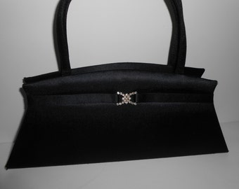 Vintage Black Evening Bag Rhinestone Trim Glamorous Handbag EB-0449