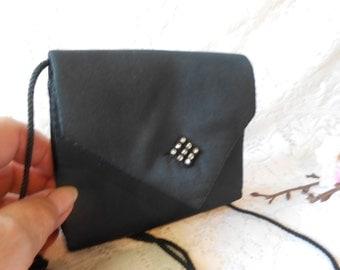 Black Evening Bag Rhinestones Petite Purse La Regale EB-0543