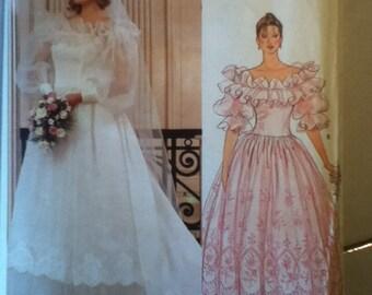 "1980s Vintage Vogue Bridal Gown Pattern 1315 Size 16,  Bust 38"",  Waist 30"", Hip 40""."