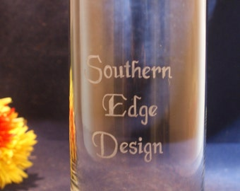 One Personalized  Cylinder Glass Vase 7 x 3 Free Personalization