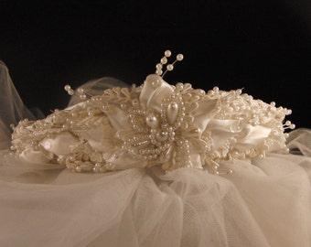 Vintage wedding bridal  two tier veil tiara/wreath headpiece