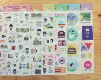 Pengiun Loves Travel Stickers - 6 Sheets