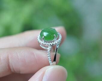 natural jade ring elegant green nephrite hotan jade ring. Black Bedroom Furniture Sets. Home Design Ideas