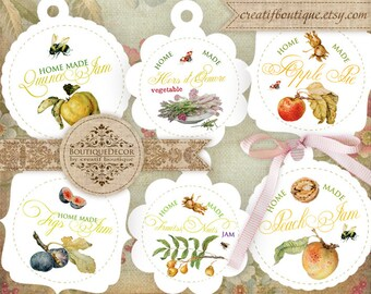 Home Made Jam Tags or Labels. Set of 7. Digital Collage Sheet.