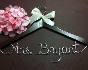 USA. Personalized Bridal Wedding Hanger. Bridal Hanger. Bridal Party. Custom Hanger. 22 Ribbon Colors