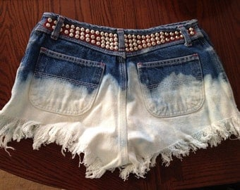 High Wasted Studded Americana Shorts