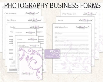 Photography business forms kit lilac floral camera style editable templates - 13 psd files supplied