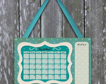 Cute polka dot and teal dry erase calendar for girls