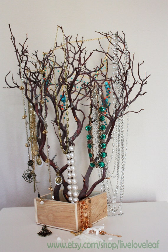 Natural manzanita branch jewelry tree jewelry organizer for Tree branch jewelry holder