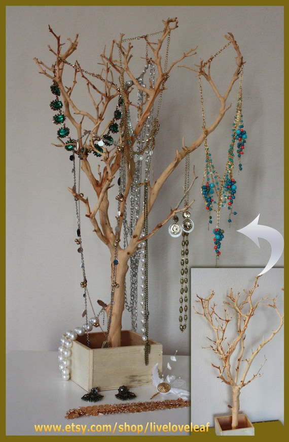 Sand blasted manzanita branch jewelry tree jewelry organizer for Tree branch jewelry holder