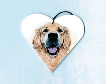 Golden Retriever Ornament - Retriever Magnet - Golden Retriever - Dog Breeds - Christmas Ornament - Tree Ornament - Heart Magnet