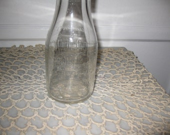 """ANTIQUE ONE PINT Dolfingers Dairy Bottle Clear Glass Embossed Best By Every Test 7 1/2"""" High"""