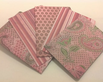 Pink Paisley blank note card set