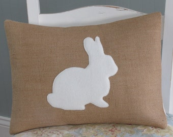 Bunny PILLOW COVER White Fleece Bunny Natural Burlap Spring Easter Childs Nursery [12x16]