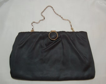 Green Evening Bag by Harry Levine with rhinestone chain
