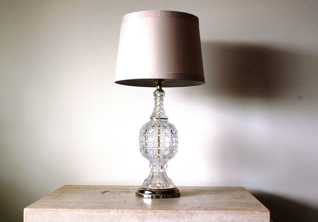 vintage crystal table lamp large crystal lamp crystal and. Black Bedroom Furniture Sets. Home Design Ideas