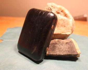 black leather keytainer