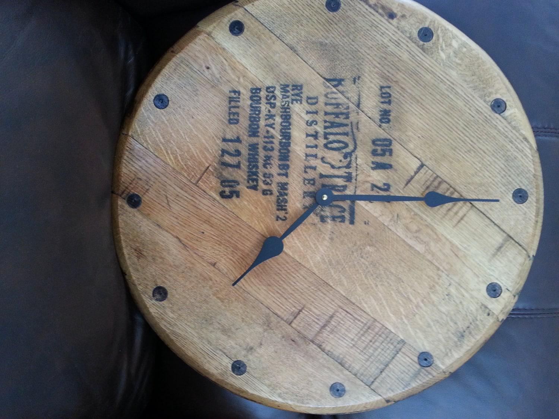 Buffalo Trace Whiskey Barrel Head Clock