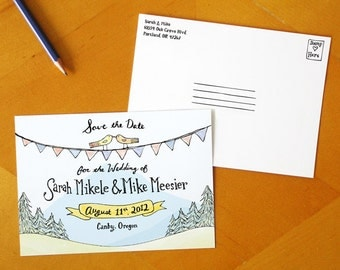 Evergreen In Love: Save the Date Postcard / Hand Drawn and Hand Painted