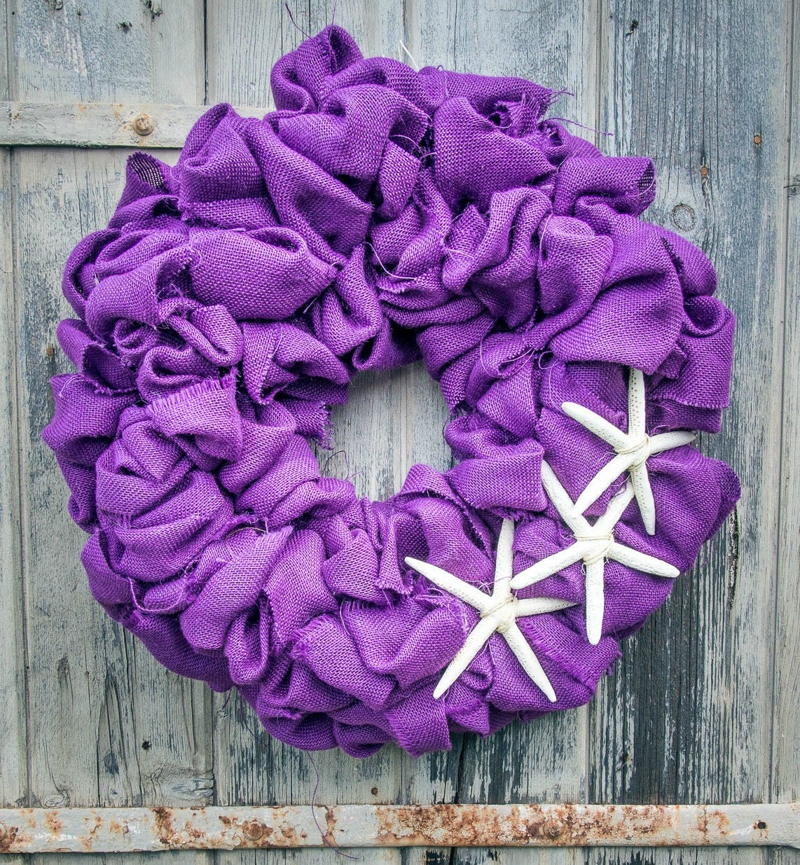 "Hinterland Trading Purple Burlap 22"" Wreath with 3 Starfish"