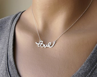 Love necklace, Sterling silver necklace, Delicate necklace, Simple necklace, Romantic necklace, Fashion