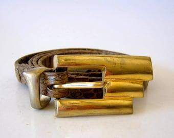 authentic python skinny belt