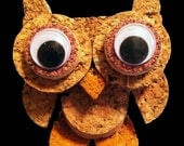 owl figurine/ornament made from recycled corks