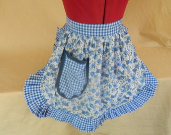 Retro Vintage 50s Style Half Apron / Pinny - Blue & White Roses with Gingham Trim