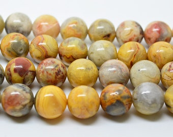 """15.5""""   Yellow  Crazy   Agate  Loose Bead  10mm"""