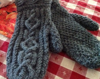 Ladies Hand Knit Cable Mittens