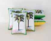CLEARANCE: Palma (palm tree) Mexican Loteria Mini Pillow with Lavender - Dia De Los Muertos / Day of the Dead sachet, party favor