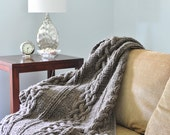 Chunky Cable Knit Blanket in Natural Gray Hand Knitted Wool Throw Full/Queen or King Sizes 1803.102.MTO