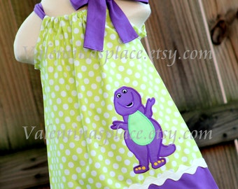 Super Adorable Barney inspired pillowcase dress