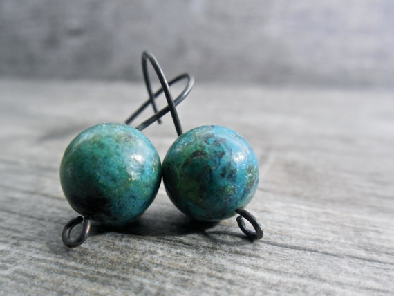 Teal Drop Earrings Rustic Earthy Chrysocolla Handcrafted Wearable Art Oxidized Sterling Silver Gift Ideas For Her Green Blue Stone