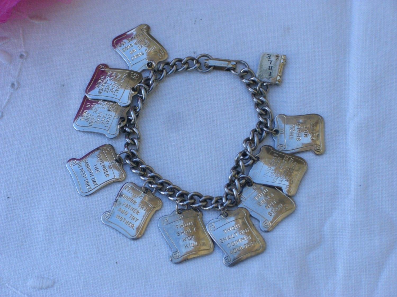 charm bracelet ten commandments vintage