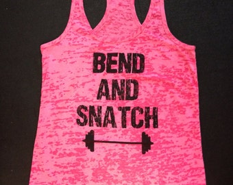 Bend and Snatch w/barbell burnout tank. Womens Workout Tank Top.Cross Training Tank Top. Gym Tank.  Exercise Tank Top. Fitness Tank Top.