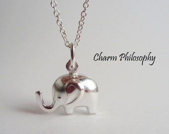 925 Sterling Silver Elephant Necklace - Silver Elephant Pendant - Baby Elephant Jewelry