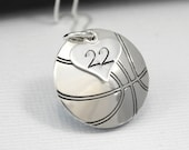 Hand-Stamped Basketball Necklace with Heart Charm stamped with Number | Basketball Charm Pendant