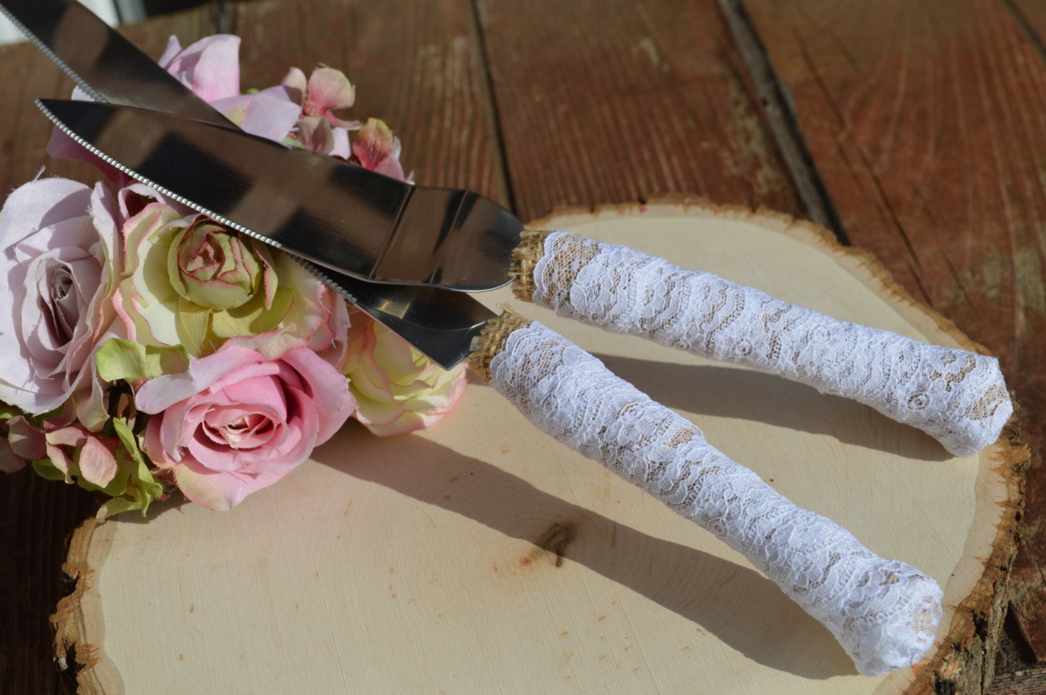 rustic wedding cake knife burlap and lace cake serving set