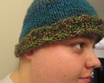 Two color knitted hat