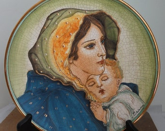 Mother and Child Mother's Day Series by V Tiziano Hand Etched and Painted in Italy- Signed