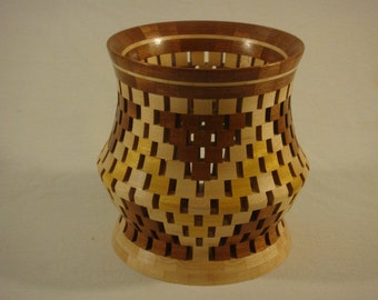 Open Segmented Canister / Centerpiece- Sepele, Maple,Yellowheart