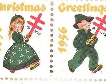 1956 Christmas Greetings Seals - Full Sheet, 100 Vintage Christmas Seals