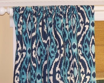 "New Navy CURTAINS Premier Prints Fabric Custom Drapery Panels 50"" Wide Rod Pocket Natural Background"